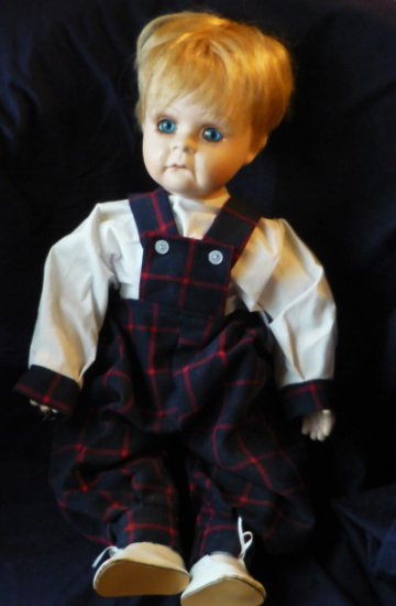 Porcelain Toddler Boy Doll 21 Inch Marked and Numbered Rose 5000-751