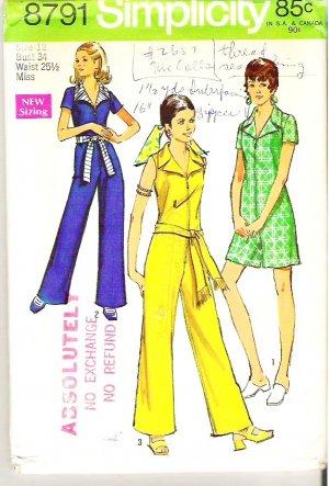 Rare Simplicity Pattern 8791 Miss Sz 12 Jumpsuit in 2 Lengths
