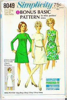 1968 Simplicity Pattern 8049 Basic Dress Sz 12 Miss Petite