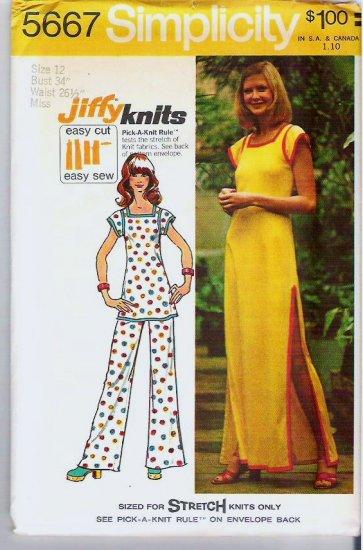 Simplicity Pattern 5667 Uncut 1973 - Sz 12 - Simple Jiffy Dress or Tunic and Pants