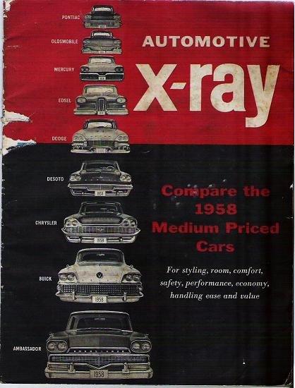 X Ray 1958 Automotive Brochure Comparing Medium Sized Cars