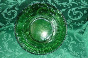 Green Glass Serving Bowl Ribbed Design Medium Size