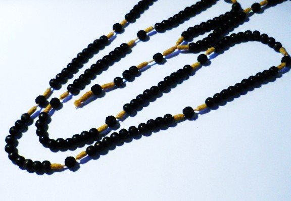 Black Wood and Natural Rope Rosary 15 Decades 40 Inches