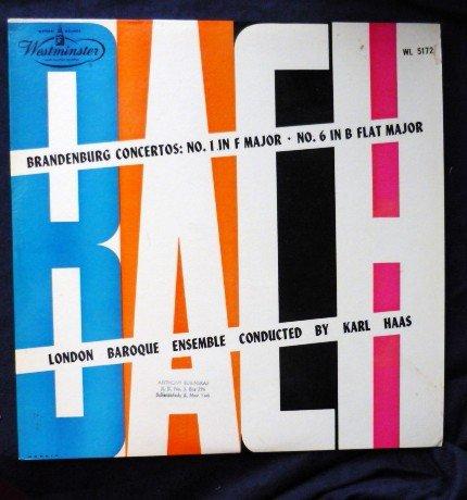 Bach Concertos No. 1 in F Major - 6 in B Flat Major lp 1952 Haas wl5172