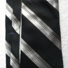 Roundtree and Yorke Collegiate Silk Tie Silver / White on Black Made in USA