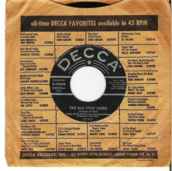 Burl Ives: Bus Stop Song/Thats My Heart Strings Decca 9-30046 45 rpm