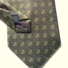 Roundtree and Yorke Silk Tie Blue Tan Red Paisley on Olive Green Hand Sewn
