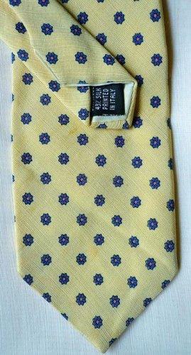 Claybrooke necktie neck tie Colors/pattern: Blue Floral on Yellow