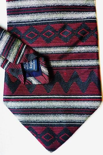 Roundtree and Yorke Silk Tie Aztec Design Black and Cream on Red