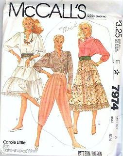 Mccalls 1982 Pattern 7974 Misses Size 8 Blouse Skirt Knickers
