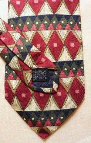 New: Roundtree and Yorke Silk Tie Blue Green Maroon Diamond Pattern