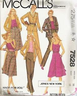 Mccalls Pattern 7528 Misses Size 16 Jacket Camisole Culottes Pants