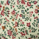 Petite Cranberry Blue Floral Pattern on Tan Background Fabric 44 x 44