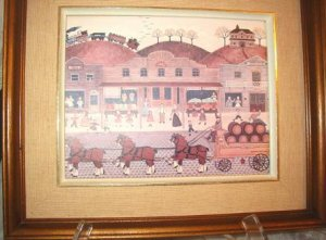 Wysocki Reproduction Framed Picture of a Town~Village Scene