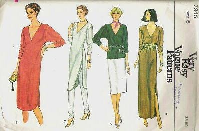 Vogue Top Tunic or Dress Sewing Pattern 7345 Vintage 1970s Size 6
