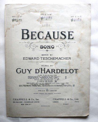 Because Song 1939 Sheet Music - Words by E Teschemacher