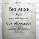 Because Song 1939 Sheet Music - Words by E Teschemacher