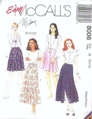 Easy 1995 Mccalls Pattern 8006 Flutter Skirt Size 6-8-10