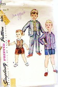 Vintage Simplicity Pattern 019 Toddler Boys Sz 3 Jacket Vest and Pants