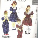 Mccalls Pattern 5116 Sz 4-5-6 Girls Dress Jumpsuit and Headband