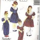 Mccalls Pattern 5116 Sz 4-5-6 Girls Dress Jumpsuit and Headband