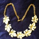 Pale Green Maple Leaf 16 inch Choker Necklace - Estate Find -