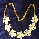 Pale Green Maple Leaf 16 inch Choker Necklace - Estate Find -