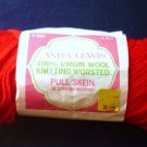 Virgin Wool Knitting Worsted Yarn Skein - Anita Lewis - 3 oz Color: Red