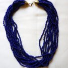 Estate Twisted Beaded Choker - 12 Strand - Pretty Navy Blue