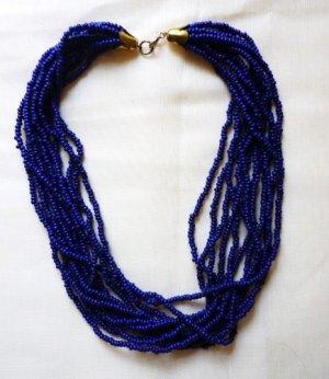 Estate Twisted Beaded Choker - 12 Strand - Pretty Navy Blue