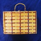 Vintage Unique Box Style Wicker or Reed Purse 8 x 6 x 4