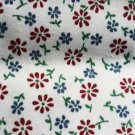 Fat Quarter Petite Red and Blue Flowers on White - 18 x 22 Inch