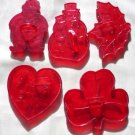 5 Red Cookie Cutters Signed HRM Santa Snowman I Love You Heart Clover Holly