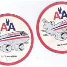 Set of Two American Airlines Airline Coasters - Vintage