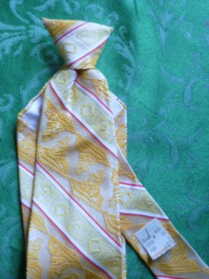 E-Z Necktie Clip on Tie - Cream and Gold Vintage - Unused - Orig Price Attached