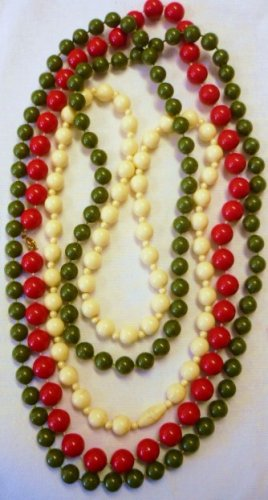 3 Vintage Beaded Necklaces - 3 Lengths - 3 colors - Green Red and Cream