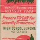 1960s Matchbook Cover - Get A High School Education at Home No Classes