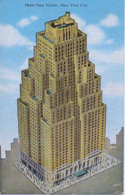 1949 Hotel New Yorker Postcard NYC with 1 cent Postage Stamp in Full Color