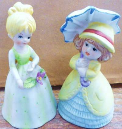 2 Bell Figurines 1979 Adorabelles Jasco Bisque Porcelain and Another Jasco?