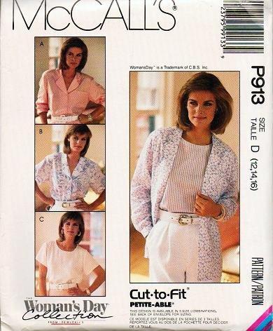 McCalls Uncut Pattern P913 3518 Cut-To-Fit Blouses Size 12-14-16