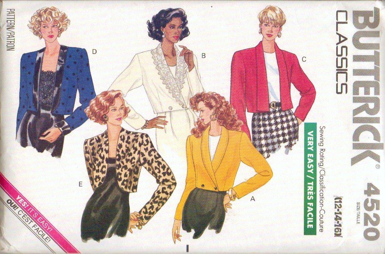 Uncut Butterick Pattern 4520 Ladies Jacket Sizes 12 14 16