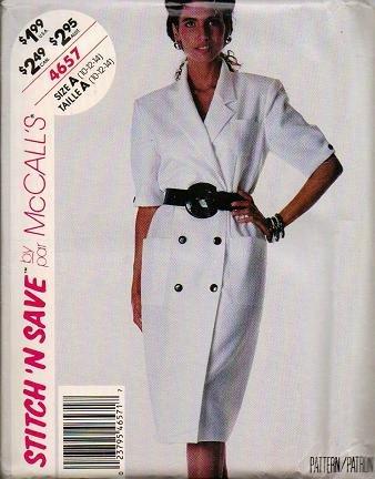 McCalls Uncut 1990 Pattern 4657 - DB Dress Sizes 10 12 14