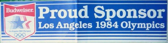 Budweiser Los Angeles 1984 Olympics Bumper Sticker - Proud Sponsor