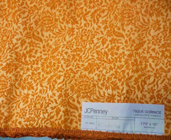 New JC Penney Laminated Fabric Valance 170 x 16 Orange Brocade