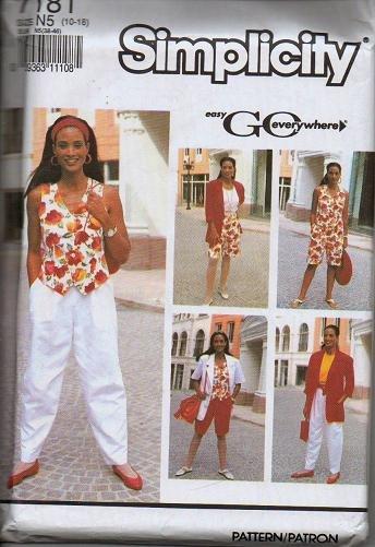 Simplicity Uncut Pattern 7181 Sz 10-18 Misses Pants Shorts Vest-Top Jacket