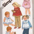 Simplicity Sewing Pattern 5733 Toddlers Pants, Top, Sundress Size 1 Toddler