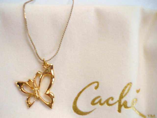 Cache Designer Gold Tone Butterfly with 18 inch Necklace - New in Box