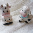 Glazed Ceramic Cow and Bull Salt and Pepper Shakers