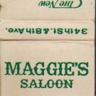 New Yorker Maggies Saloon 34 St 8th Ave NYC Matchbook Cover - Unused
