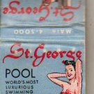 St George Hotel Matchbook Cover - Vintage - Natural Salt Water Pool